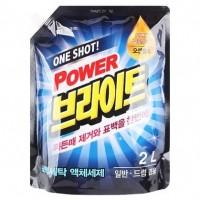"""Жидкое средство с ферментами """"One shot! Power Bright Liquid Detergent"""" придающее яркость, сменная упаковка, 2 л. Арт. 601580"""