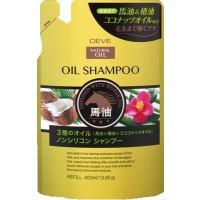 Шампунь для сухих волос Kumano Deve с 3 видами масел (лошадиное, кокосовое и масло камелии), без силикона, сменная упаковка, 400 мл. Арт. 024311