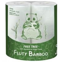 Двухслойные бумажные полотенца в рулоне Fluty (бамбук), 2 рулона. Арт. 20145
