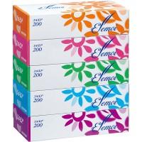 Бумажные двухслойные гигиенические салфетки Kami Shodji ELLEMOI Elegance, 200 шт. (5 пачек в упаковке). Арт. 003767
