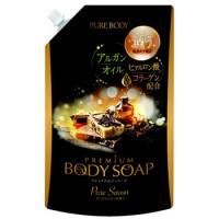 """Увлажняющий гель для душа Mitsuei """"Pure Body Premium"""" с аргановым маслом, гиалуроновой кислотой и коллагеном с ароматом утренней свежести, сменная упаковка, 840 мл. Арт. 300202"""