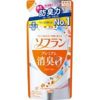 Кондиционер для белья LION Soflan Premium Deodorizer Zero-Ø с длительной 3D-защитой от неприятного запаха,  натуральный аромат цветочного мыла, сменная упаковка, 420 мл. Арт. 320098