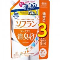 Кондиционер для белья LION Soflan с длительной 3D-защитой от неприятного запаха Premium Deodorizer Zero-Ø, натуральный аромат цветочного мыла, сменная упаковка, 1260 мл. Арт. 320135