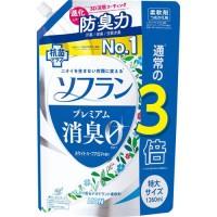 Кондиционер для белья LION Soflan с длительной 3D-защитой от неприятного запаха Premium Deodorizer Zero-Ø, натуральный аромат луговых трав. сменная упаковка, 1260 мл. Арт. 320432