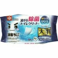 Влажные салфетки для обработки унитаза LEC увеличенные, водорастворимые, спиртосодержащие, с антибактериальным эффектом, аромат мыла, 440 х 160 мм, 10 шт. Арт. 043350